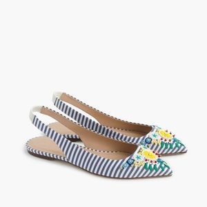 J.Crew Collection Embroidered Slingback Flats